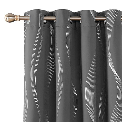 Deconovo Blackout Curtains, Thermal Insulated Drapes, Foil Print Wave Patterns 52x72 Inch