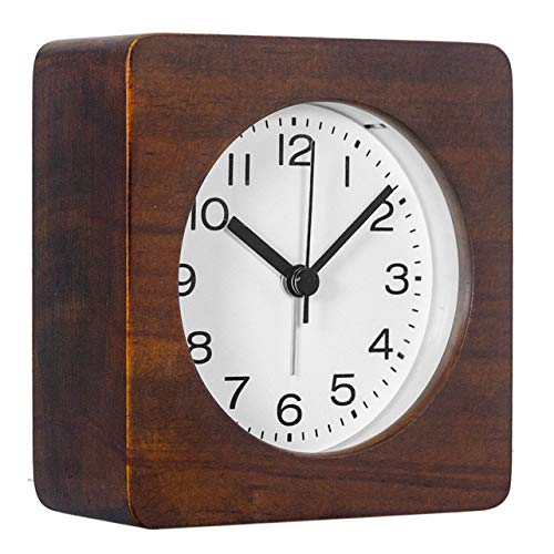 AROMUSTIME 3-Inches Square Wooden Alarm Clock with Arabic Numerals, Non-Ticking Silent