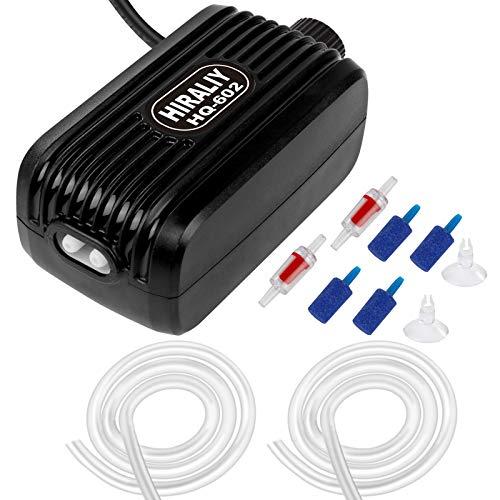 10. HIRALIY Aquarium Air Pump with Dual Outlet Adjustable Air Valve, Ultra Silent